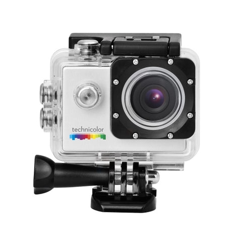 Picture of Waterproof action camera and assortment of mounts.  Comes with instructions and recharging cable.