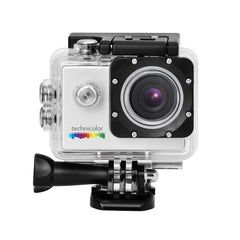 Waterproof action camera and assortment of mounts.  Comes with instructions and recharging cable.