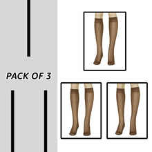Load image into Gallery viewer, Lissele Full Support Women's Plus Size Knee High 3 Pack (Coffee, XXXXL)