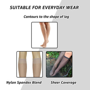 Lissele Full Support Women's Plus Size Knee High 3 Pack (Coffee, XXXXL)