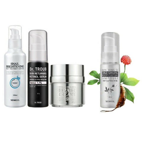 [Sidmool] Snail Essence+Serum+Repair Cream+Wild Ginseng Ampoule