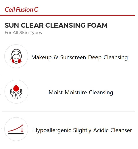 [Cell Fusion C] Sun Clear Cleansing Foam 150ml K-beauty - BEST BEAUTIP