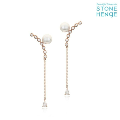 twinkidea - [STONE HENGE] P1163 14K Rose Gold Luxury Earrings with Case K-beauty Korea Drama - STONE HENGE - Earrings