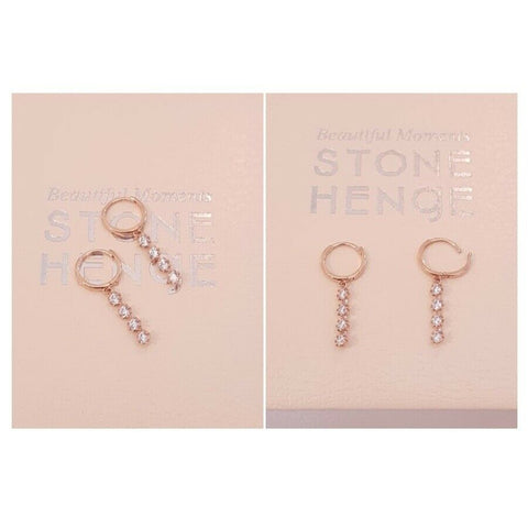 [STONE HENGE] 14K Rose Gold One-Touch Earrings T1344 with Case K-beauty - BEST BEAUTIP