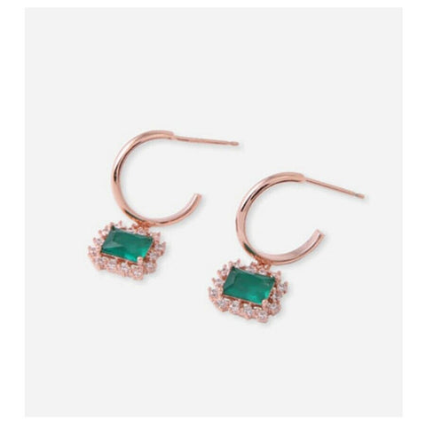 [JUDY AND PAUL] Lette Square Emerald Green Drop Ring Earrings E51171 K-beauty - BEST BEAUTIP