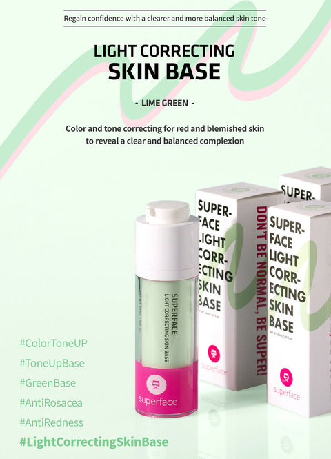 [Superface] Light Correcting Skin Base 30g Lilac Purple or Lime Green K-beauty - BEST BEAUTIP