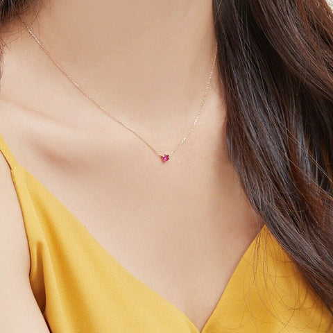 [KINT] 14K Rose Gold Loving Heart Ruby Necklace with Case K-beauty - BEST BEAUTIP