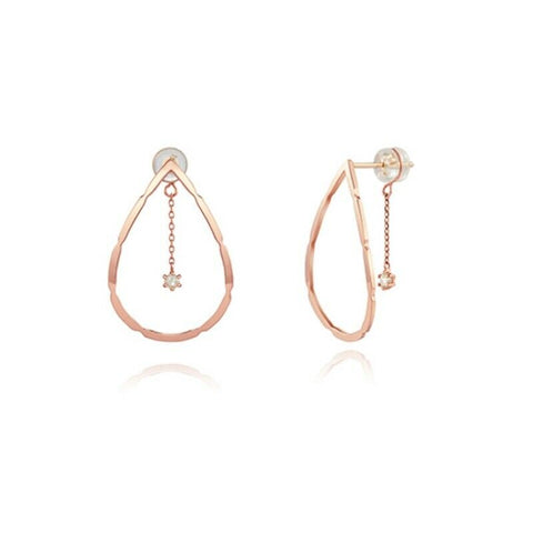 [STONE HENGE] 14K Gold Water Drop Diamond Earrings T1454D with Case K-beauty