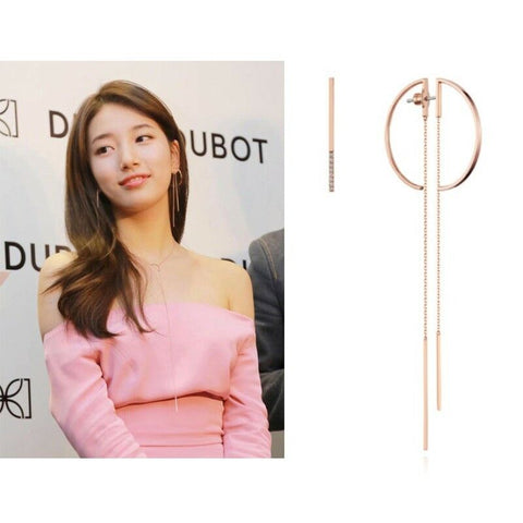 twinkidea - [DIDIER DUBOT] Signature D Drop Earrings JDREPSF40ZC (Rose Gold Plating) with Case - DIDIER DUBOT - Earrings