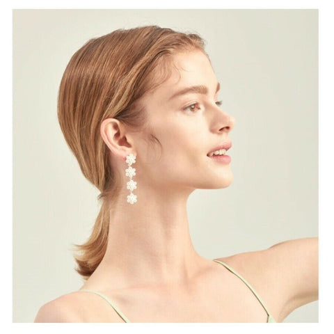 [ENGBROX] Pearl Bloom Earring Silcer Color / Silver Post - BEST BEAUTIP