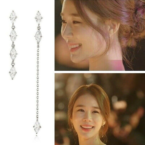 twinkidea - [STONE HENGE] Unbalanced Cubic Drop Earrings K1205 with Case K-DRAMA - STONE HENGE - Earrings