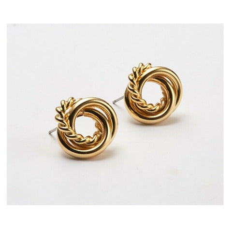 [Hei] Three String Twisted Post Earring 300686318 K-beauty Gold color - BEST BEAUTIP