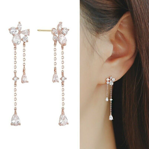 [LLOYD] 14K Pink Gold Ever Stone Drop Earrings LPSJ2057G with Case - BEST BEAUTIP