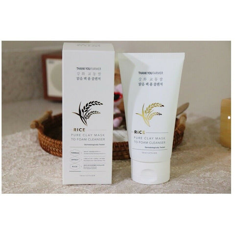 [THANK YOU FARMER] RICE Pure Clay Mask To Foam Cleanser 150ml / 5.27 oz K-beauty - BEST BEAUTIP