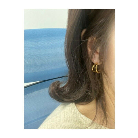 [Hei] Silver 925 Two-String Hoop Earring 300686486 K-beauty Gold color