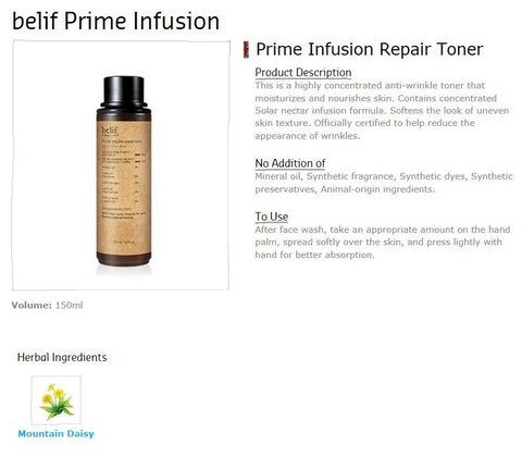 [belif] Prime Infusion Repair Toner 150ml / 5oz K-beauty with Mountain Daisy - BEST BEAUTIP