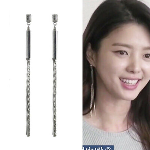 [KATENKELLY] Slender Tassel Maxi Long Silver Earrings K-beauty - BEST BEAUTIP