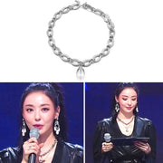 [VINTAGE HOLLYWOOD] Chain n Water Drop Silver Necklace K-Star wears - BEST BEAUTIP