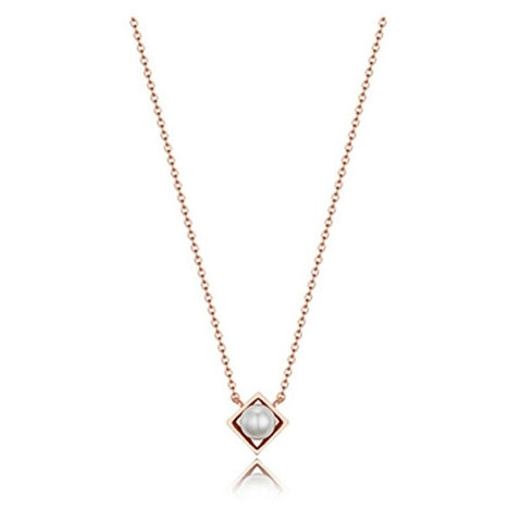 [HAESOO.L] Silver 925 Rhombic Pearl Necklace YUN3903 Packing Case Korea Drama - BEST BEAUTIP