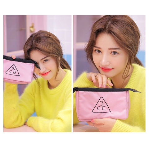 twinkidea - [3CE] Pouch Makeup Pouch Bag Travel Cosmetic Bags #Black,#Pink K-beauty - 3CE - Makeup Bags