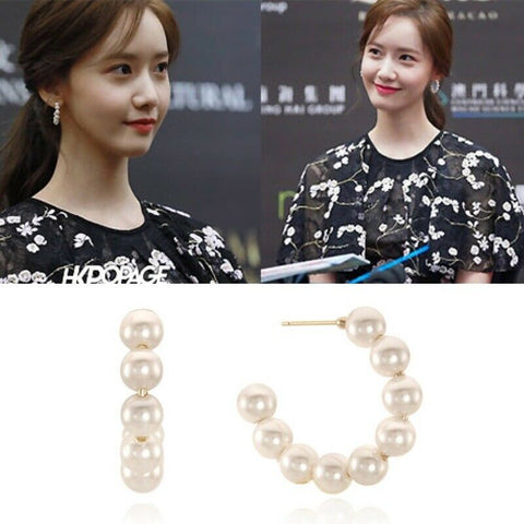 [VINTAGE HOLLYWOOD] Hoop Pearl Earrings K-beauty Korea Star Wear Drama support - BEST BEAUTIP