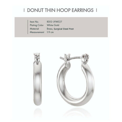 [RITA MONICA] Donut Thin Hoop Earrings RD12-JYWE27 with Case K-beauty - BEST BEAUTIP
