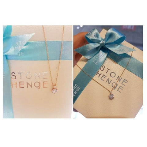 twinkidea - [STONE HENGE] 14K Rose Gold Simple Cubic Necklace T0643 with Case K-beauty - STONE HENGE - Necklaces