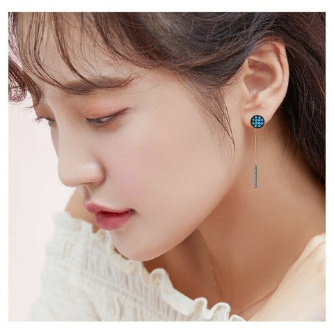 [KINT] 14K Gold Vivid Blue Stone Stick Earrings Charm 1Piece K-beauty - BEST BEAUTIP