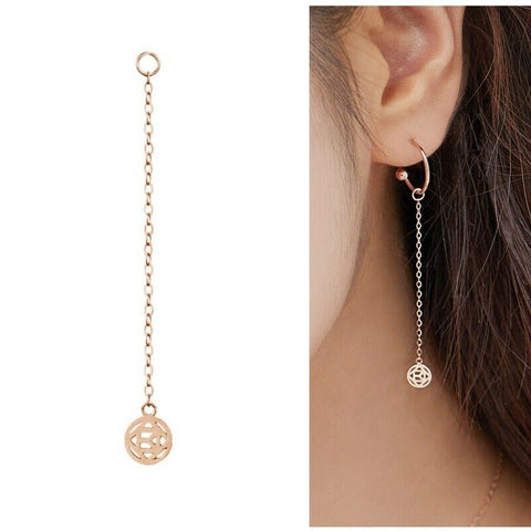 [KINT] 14K Gold Round Kint Rose Drop Earrings Charm 1Piece with case K-beauty - BEST BEAUTIP