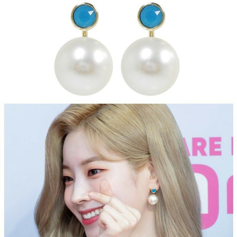 [KATENKELLY] Aura Drop_Caribbean Blue Opal Earrings K-beauty TWICE Dahyun wears - BEST BEAUTIP