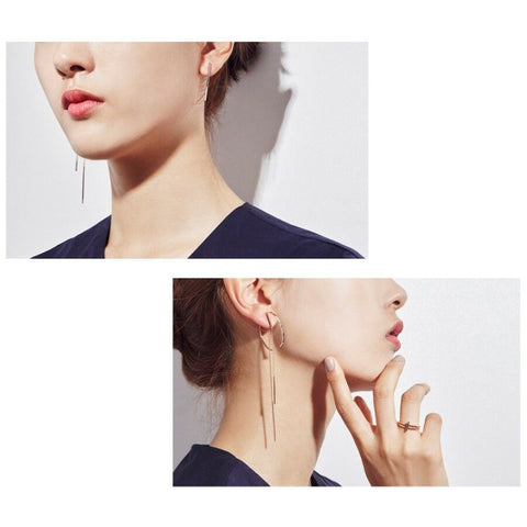 [DIDIER DUBOT] Signature D Drop Earrings JDREPSF40ZC (Rose Gold Plating) with Case - BEST BEAUTIP