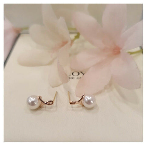 [LLOYD] 10K Pink Gold Pearl Ribbon Short Earrings LPTJ4076T with Case K-beauty - BEST BEAUTIP