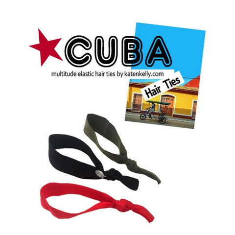 [KATENKELLY] Cuba Hair Ties Set K-beauty Red, Khaki, Black Color - BEST BEAUTIP