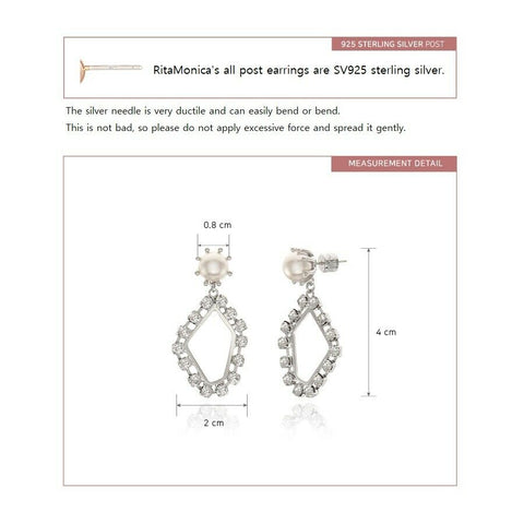 [RITA MONICA] White Gold Glam Glitter Earrings RC13-JOWE6 with Box packing K-beauty