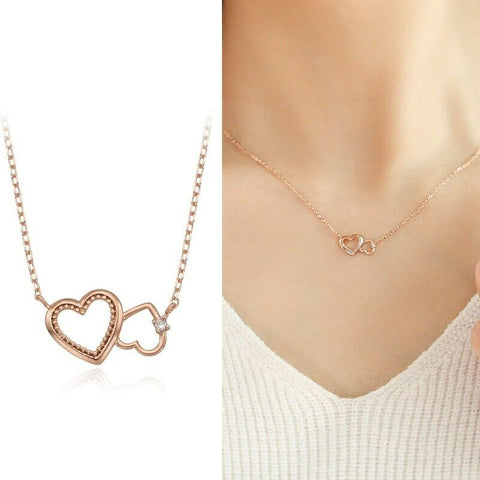 [LLOYD] 14K Pink Gold Twin Love Necklace LNN20001G with case K-beauty - BEST BEAUTIP