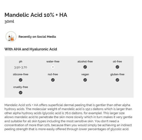 [The Ordinary] Mandelic Acid 10% + HA 30ml / 1 fl.oz for Deep wrinkles - BEST BEAUTIP