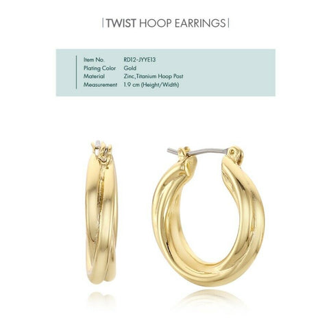 [RITA MONICA] Twist Hoop Gold Earrings RD12-JYYE13 with Box packing K-beauty - BEST BEAUTIP