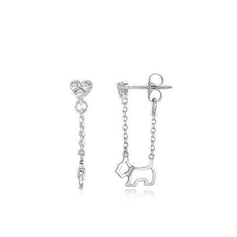 twinkidea - [AGATHA] SILVER 925 Heart Scottie Drop Silver Earrings 2321727S-136-TU K-beauty - AGATHA - Earrings