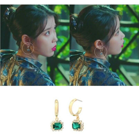 [JEALOUSY] Mini Happy Earring Green Color K-beauty IU Wearing of tvN Hotel DelLuna - BEST BEAUTIP