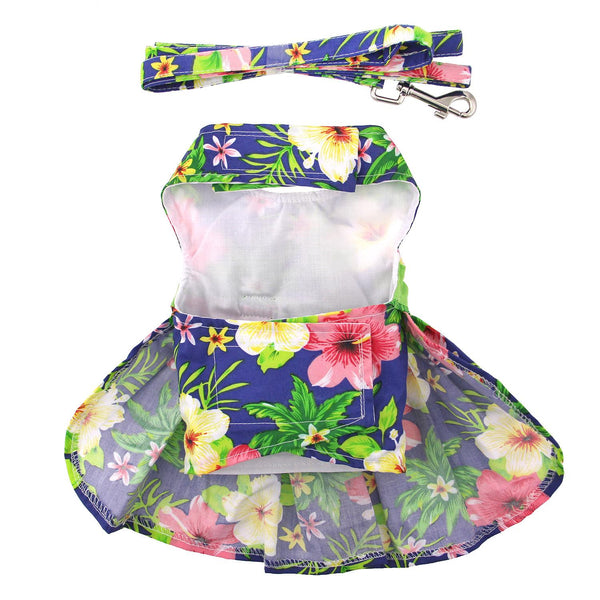 Blue Lagoon Hawaiian Hibiscus Dog Dress with Matching Leash