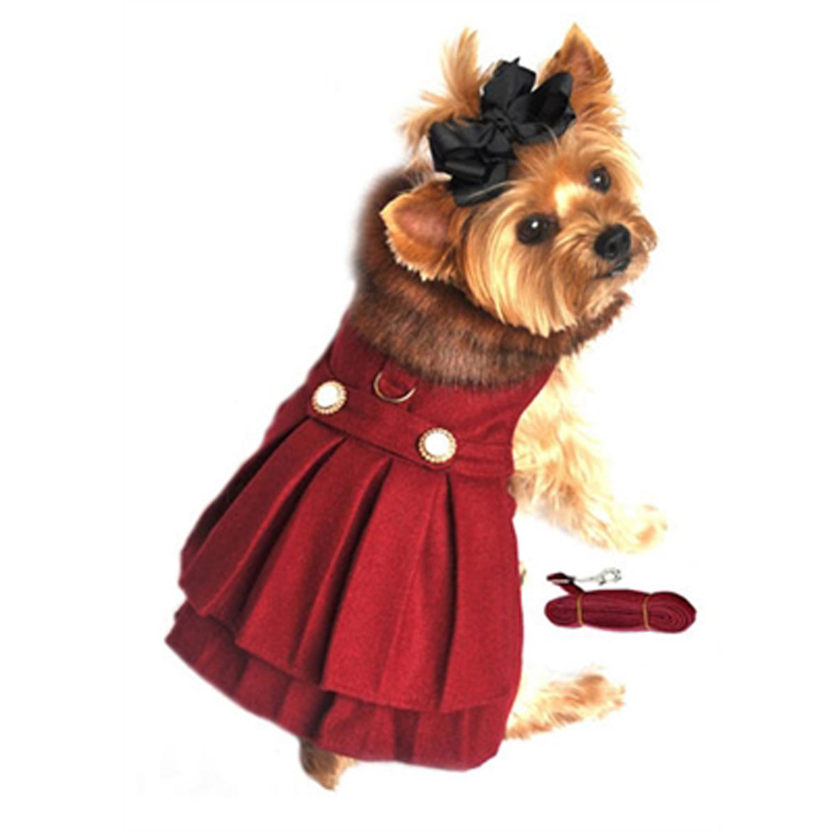 Wool Fur-Trimmed Dog Harness Coat - Burgundy With Matching Leash
