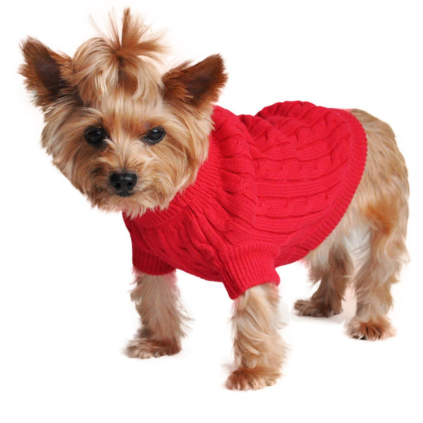 Combed Cotton Cable Knit Dog Sweater - Fiery Red