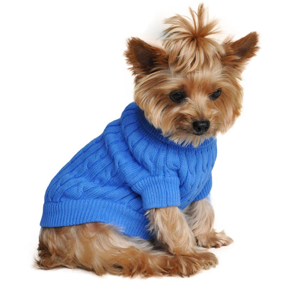 Combed Cotton Cable Knit Dog Sweater - Riverside Blue