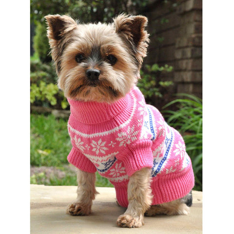 Combed Cotton Snowflake and Hearts Dog Sweater - Pink