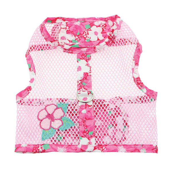 Cool Mesh Harnesses With Leash - Pink Hawaiian Hibiscus