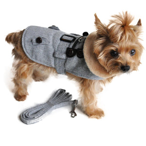 Grey Herringbone Dog Coat with Leash