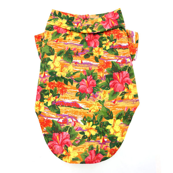 Hawaiian Camp Shirt - Sunset Hibiscus