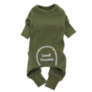 Sweet Dreams Thermal Dog Pajamas - Herb Green