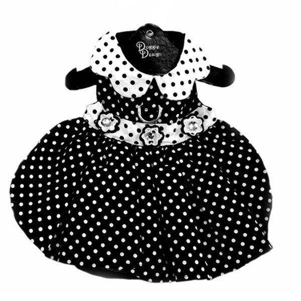 Polka Dot Dog Dress - Black and White With Matching Leash