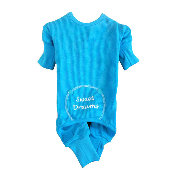 Sweet Dreams Thermal Dog Pajamas - Blue